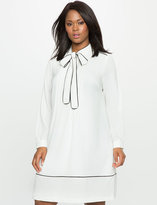 ELOQUII Plus Size Soft Shirt Dress with Piping