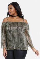 Fashion to Figure Waverly Metallic Off Shoulder Top