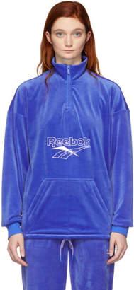 Vector Reebok Classics Blue Velour Half-Zip Sweatshirt