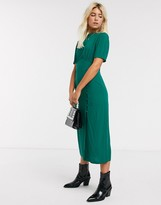 Asos Design DESIGN midi tea dress with buttons and split detail in forest green