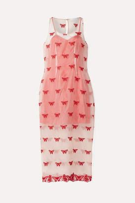 Fleur Du Mal Metallic Embroidered Silk-blend Organza Midi Dress - Blush