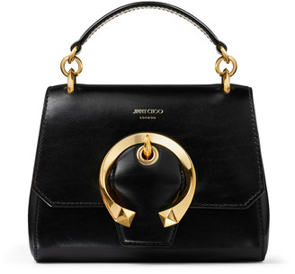 Jimmy Choo MADELINE TOP HANDLE/S Black Calf Leather Top Handle Bag with Metal Buckle