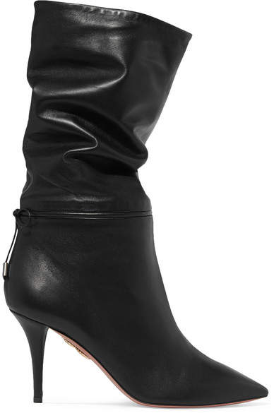 Aquazzura Claudia Schiffer Le Marais Leather Boots - Black