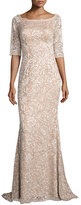 Jovani 3/4-Sleeve Floral Lace Mermaid Gown, Blush
