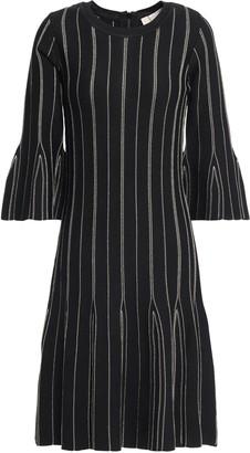 MICHAEL Michael Kors Fluted Metallic Striped Knitted Dress