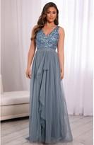 Sistaglam YASMIN DUSKY BLUE SEQUIN V NECK DETAILED TOP TIERED BRIDESMAID DRESS
