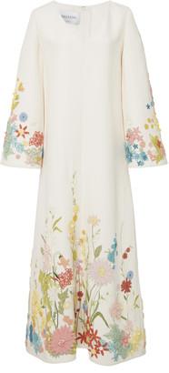 Valentino Embroidered Wool Silk Midi Dress