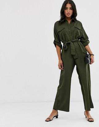 Liquorish wide leg utility jumpsuit in khaki-Green