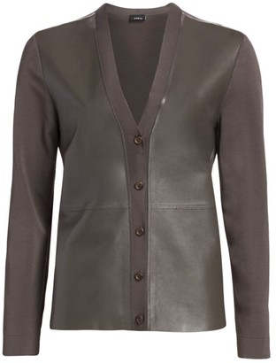 Akris Leather & Knit V-Neck Cardigan