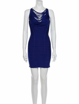 Herve Leger Metzi Mini Dress Blue