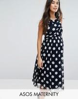 Asos Spot Mesh Midi Dress