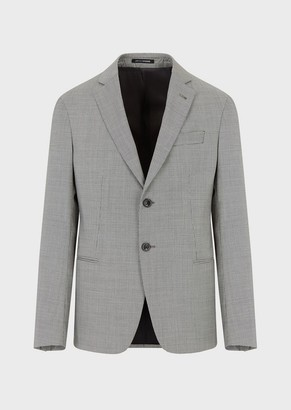 Emporio Armani Slim-Fit Jacket In Houndstooth Light Wool