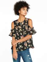 Very Cold Shoulder Ruffle Blouse