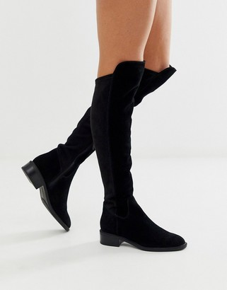 Aldo Byssa over the knee flat boot in black suede