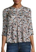 Rebecca Taylor Bijou Silk Floral-Print Top