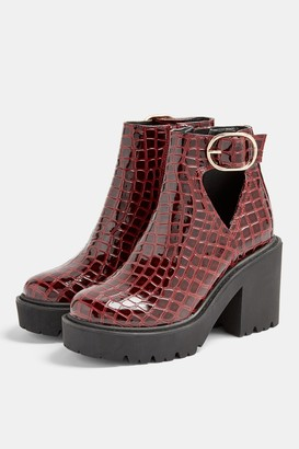 Topshop Burgundy Patent Croc Cut Out Boots