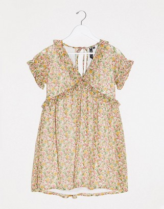 Influence smock floral dress with frill detail