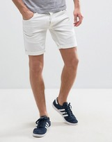 Solid Slim Fit Denim Shorts With Distressing
