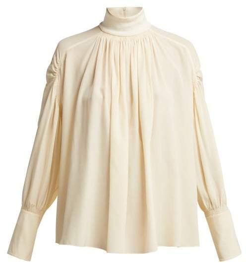 Chloé Roll Neck Silk Crepe De Chine Blouse - Womens - Beige