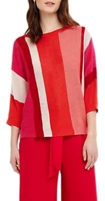 Phase Eight Delmi Vertical Stripe Linen Jumper, Red/Multi