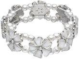 Croft & Barrow Simulated Pearl Flower Stretch Bracelet