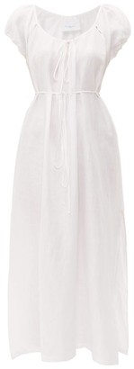 Loup Charmant Fortuna Puff-sleeve Linen Midi Dress - Womens - White
