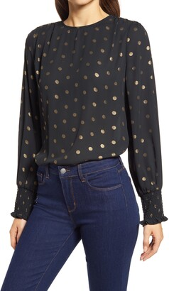 Halogen Metallic Dot Popover Blouse