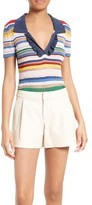 Alice + Olivia Women's Martha Stripe Ruffle Placket Polo
