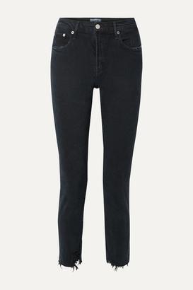 A Gold E Agolde AGOLDE - Toni Distressed Mid-rise Straight-leg Jeans - Black