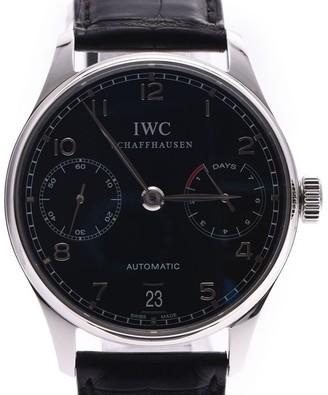 IWC Black Stainless Steel and Leather Schaffhausen IW500109 Men's Wristwatch 42MM