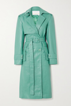 REMAIN Birger Christensen Pirello Leather Trench Coat - Turquoise