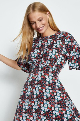Coast Red Ditsy Floral Cape Sleeve Dress