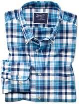 Charles Tyrwhitt Classic Fit Poplin Navy Multi Cotton Casual Shirt Single Cuff Size Large