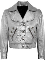 Marc by Marc Jacobs Stud-Embellished Metallic Leather Jacket