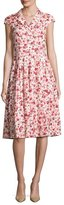 Lela Rose Jane Poppy-Print Cap-Sleeve Shirtdress, Red