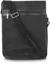Moreschi Black Techno Fabric Large Messenger Bag