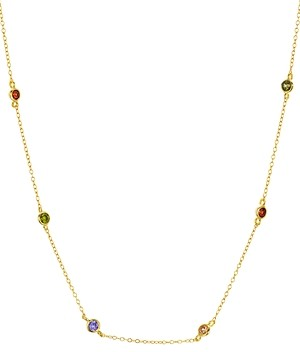Aqua Indian Summer Multicolor Station Necklace in 18K Gold Tone-Plated Sterling Silver, 15 - 100% Exclusive