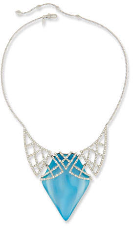 Alexis Bittar Crystal Encrusted Lattice Bib Necklace