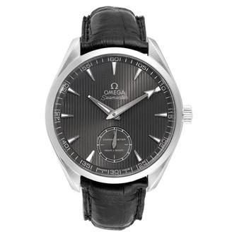 Omega Grey Stainless Steel and Leather Aqua Terra Railmaster XXL 231.13.49.10.06.001 Men's Wristwatch 49.2MM