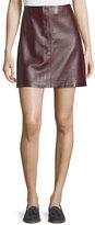 Theory Irenah Wilmore Leather Miniskirt, Garnet