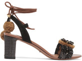 Dolce & Gabbana Suede And Raffia-trimmed Embellished Leather Sandals - Black