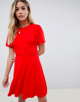 Asos Design DESIGN flutter sleeve wrap waist tea dress-Red