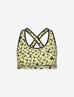 Adam Selman Sport Cross-back daisy-print stretch-woven sports bra