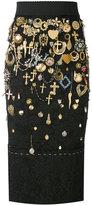 Dolce & Gabbana cross charm embellished skirt - women - Polyamide/Polyester/Acetate/Silk - 38
