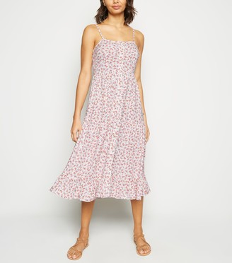 New Look Floral Print Button Front Midi Dress