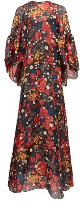 Biyan Gallie Floral-print Silk Maxi Dress - Black Multi