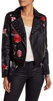 Bagatelle Floral Patched Studded Faux Leather Moto Jacket