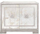 The Well Appointed House Worlds Away Ophelia Antique Mirror and Silver Leaf 2 Door Cabinet with Greek Key Details