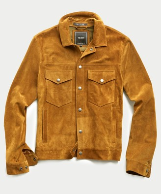 Todd Snyder Italian Suede Snap Dylan Jacket in Brass