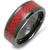 DazzlingRock Collection Black Ceramic Men's Ladies Unisex Ring Wedding Band 8MM Flat Polished Shiny Beveled Edge Red Carbon Fiber Inlay Comfort Fit (Available in Sizes 8 to 12) size 11